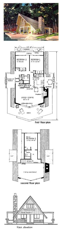 A Frame House Plan 43048 Total Living Area 1274 Sq Ft 3 Bedrooms And 2 Bathrooms Houseplan Aframe A Frame House Plans, Small House Plans, House Floor Plans, A Frame Floor Plans, Contemporary House Plans, Contemporary Style Homes, Plan Chalet, Sims House, Cabins And Cottages