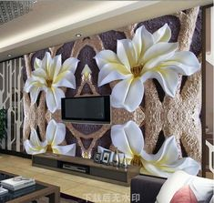 beibehang Customize any size relief wallpaper large flower fashion decorated interior bedroom living room background wall paper Creative Wall Painting, Creative Walls, Tv Wall Design, Ceiling Design, 3d Wallpaper Decor, Photo Wallpaper, Bathroom Glass Wall, Modern Tv Wall Units, 3d Wall Panels