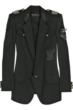 Dark-green cotton-canvas blazer with silver-tone studding and various military patches. Balmain blazer has a notch collar, two front button-fastening patch breast pockets, two flap pockets, long sleeves with button-fastening cuffs, padded shoulders, a vent at the back hem and is fully lined in black twill. 100% cotton. Dry clean.