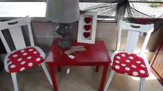Barn red accent table by UniquelyAttainable on Etsy, $15.00