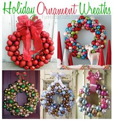 Save those old Christmas tree ornaments of varying sizes and make beautiful wreaths to match your decor!