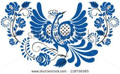 Russian national floral pattern - gzhel. Bird on the branch with leaves, swirls and flowers. - stock photo