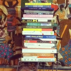 guiltless reading: #DailyBookPic bookshelf - non-existent - just pile them up high!