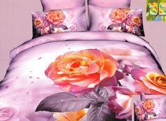 Posciel fioletowa bawełniana w pomarańczowe róże