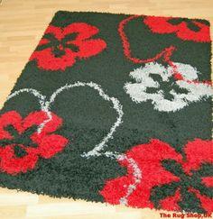 Cosmos 3290 Floral Black Red Rug - Buy Rugs At Sale Price