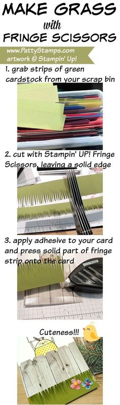 Create paper grass with Stampin' Up! Fringe Scissors