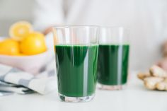 Green juice lemonade made with meyer lemons and  spirulina via @healthfullyeverafter