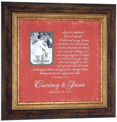 Personalized Wedding Gift LOVE IS PATIENT Corinthians 13 by PhotoFrameOriginals