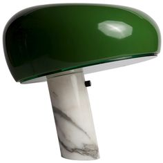 Snoopy Lamp, by Achille and Pier Giacomo Castiglioni for Flos. Heavy marble base and rare green shader.