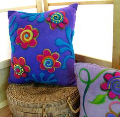 Purple flower cushion recycled renewable resource by hamsterville