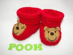 Baby Booties, Winnie the Pooh Bear NB to 6 Months or 6 to 12 Months Finely Finished Crochet. $34.00, via Etsy.