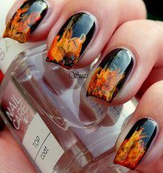 Fire nail art - BLACK nail polish with orange and yellow tips - NAILS - design Orange Nail Designs, Cool Nail Designs, Flame Nail Art, Sexy Nails, Black Nails, Fancy Nails, Nailart, Fire Nails, Fabulous Nails