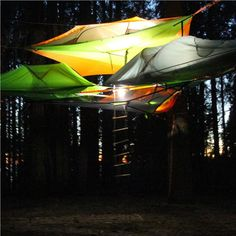 The orange connect tree tent by Tentsile is a 2 person hanging tent that doubles as a ground tent if trees aren't accessible making it the most versatile tent!