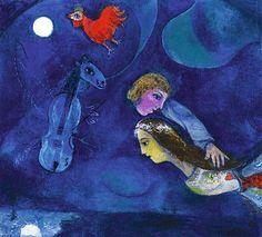 """""""Nel blu dipinto di #blu"""", Modugno e #Chagall Nel 1958 Domenico Modugno dipingeva una canzone nata mentre era in dormiveglia e ispirata ad un'opera di Chagall. Nel suo lavoro, il cantante polignanese racchiudeva un'Italia che stava superando i traumi della guerra, ma che già volava felice. Era l'Italia elogiata dal Financial Times per il """"miracolo economico"""". Immagine: Marc Chagall, Coq Rouge Dans la Nuit, 1944, collezione privata www.arsvivens.it - Altamura"""