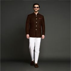 Personalized custom tailored jodhpuri suits for men available exclusively on Hangrr. Buy Mandarin Collar Mens Suits from a wide range of velvet, wool & performance fabrics ideal for both weddings & work. Mens Wedding Wear Indian, Wedding Dresses Men Indian, Indian Groom Wear, Wedding Dress Men, Engagement Dress For Men, Wedding Attire, Indian Dresses, Marriage Suit For Man, Marriage Suits