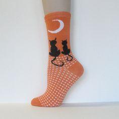 Halloween Kids Youth Orange Black Cats Moon Ankle Socks [1pair] : COUVER SWEATBANDS & SOCKS