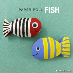 A simple fish craft made from a cardboard tube using a flatten and cut technique