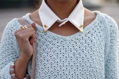 love the collar with the boatneck sweater