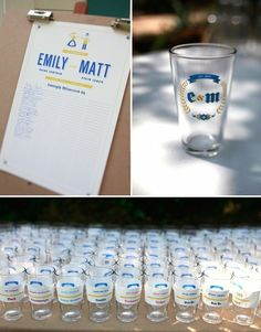 At a beer garden themed wedding. Love the personalized glasses