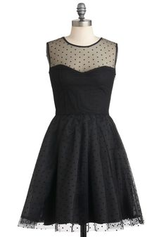 Have It All Dress - Sheer, Mid-length, Black, Party, Film Noir, Ballerina / Tutu, Sleeveless, A-line, Polka Dots, Cocktail, Holiday Party, Cotton, Fit & Flare, Sweetheart