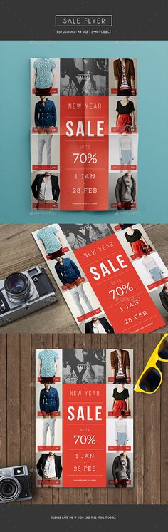Sale Flyer, can be used for your promo/discount program in your store. It looks simple with geometric shape and colorful File Features : Size In) In Bleed area CMYK / 300 dpi Smart Object Image Customizable Text PSD file Font Dow Holiday Looks, Holiday Style, Holiday Dinner, Promotional Flyers, Sign Display, Sale Flyer, Business Flyer Templates, Branding, New Years Sales