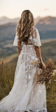 30 Rustic Wedding Dresses For Inspiration ❤  rustic wedding dresses a line with cap sleeves floral lace country anna campbell #weddingforward #wedding #bride