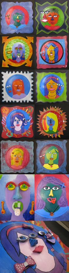 """One of the cleverest projects of ALL time!  Entitled """"Magnetic Personalities"""" by Freckle photo blog.  This kids created self portraits minus facial features on a 12"""" pizza pan.  They made two sets of ceramic eyes, noses, mouths, and accessories.  After painting they glued magnets to them.  So fun!"""