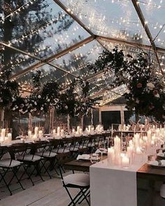 Enjoy the winter night sky under a swoon-worthy clear tented wedding reception. If you're planning a winter wedding you'll love this option of having a clear tent as you can see the sky but can still stay warm inside. Marquee Wedding Receptions, Wedding Reception Lighting, Tent Wedding, Dream Wedding, Summer Wedding, Wedding Dinner, Rooftop Wedding, Gown Wedding, Wedding Cakes