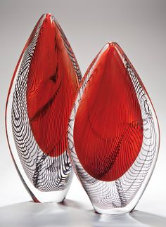 Red Burano Pair, Peter Layton, 2014. Represented at COLLECT by The Gallery at London Glassblowing. Photo: Ester Seggara