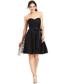 Marina Strapless Belted Lace Dress   Web ID: 1210944