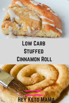 This Low Carb Stuffed Cinnamon Roll is an amazing treat that's very easy to make. It starts with the magical fathead dough base, and adds lots of yummy goodness! | heyketomama.com via @heyketomama