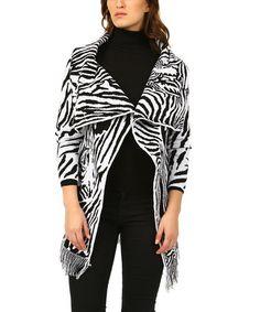 Look at this #zulilyfind! Black & White Zebra Fringe-Trim Wrap Cardigan #zulilyfinds