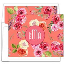 Salmon Rose Foldover Note Cards