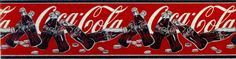 2 New Vintage Coca Cola Wallpaper Borders Coke Bottles Script Red Black 10 Yds #CocaColabyVillage