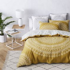 Mandala Quilted Quilt Cover Mustard