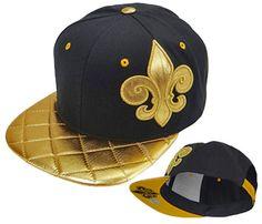 a1215e6d2f3 New Orleans Saints Snapback Black and Gold Hat Fleur De Lis Baseball Cap  NFL Football Team