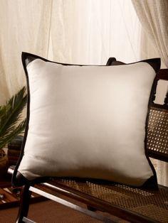 woven linen leather pillow