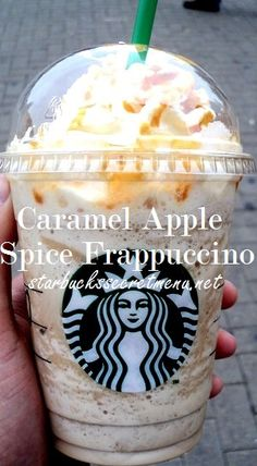 Starbucks Caramel Apple Spice Frappuccino Instead of a hot Caramel Apple Spice, try it as a Frappuccino! Starbucks Secret Menu Drinks, Starbucks Recipes, Coffee Recipes, Starbucks Fall Drinks, Fondue Recipes, Copycat Recipes, Cake Recipes, Cooking Recipes, Starbucks Caramel Apple Spice