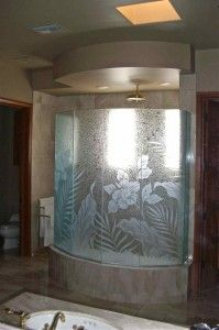Hibiscus Paradise Glass Shower Enclosure (additional view)