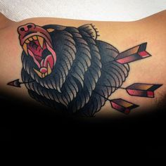 Discover courage, wisdom and ferocious power with the top 50 best traditional bear tattoo designs for men. Explore cool design ideas from grizzly to black. Angel Tattoo Designs, Tattoo Sleeve Designs, Tattoo Designs For Women, Traditional Bear Tattoo, Traditional Tattoo Design, Heart Tattoo Shoulder, Feather Tattoo Arm, Black Bear Tattoo, Inner Bicep Tattoo