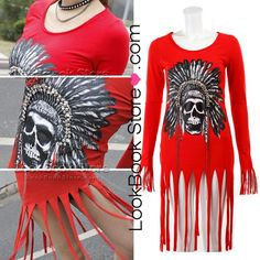 Womens Indian Skull Head Printed Chain Tassels Fringe Cuff Red Long T-Shirt Tee @Terri Bivins
