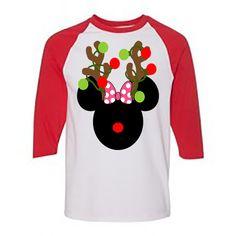 6574422fa Minnie Mouse Reindeer Raglan T-Shirt 3/4 Sleeve Christmas Holiday Shirt |  eBay