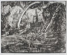 Leon Kossoff, Salisbury Cathedral from the Meadows, Etching on paper. 430 x 559 mm (frame: 772 x 853 x 32 mm). Abstract Landscape, Landscape Paintings, Leon Kossoff, Barbizon School, Salisbury Cathedral, Square Canvas, David Hockney, Old Master, Impressionism