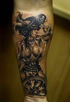 Pirate pin-up girl pirate pin up tattoo, pirate mermaid tattoo, pirate tattoo Pirate Mermaid Tattoo, Pirate Tattoo Sleeve, Ship Tattoo Sleeves, Pirate Girl Tattoos, Pirate Skull Tattoos, Pirate Ship Tattoos, Tattoos Skull, Mermaid Tattoo Designs, Forearm Tattoos