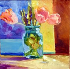 Artists Of Texas Contemporary Paintings and Art - Indiana Pink Tulips 13036, Dreama Workshop, Carmel, Indiana by Texas Artist Nancy Standlee