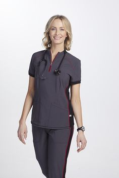 The Infinity By Cherokee Limited Edition Mock Neck Zip Front Scrub Top has roomy pockets and stretch fabric. Shop for yours at Scrubs & Beyond. Cherokee Scrub Pants, Cherokee Scrubs, Medical Uniforms, Work Uniforms, Dental Shirts, Cherokee Brand, Scrubs Outfit, Side Panels, Scrub Tops