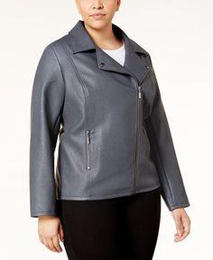 b953cfcff0512 Alfani Plus Size Faux-Leather Moto Jacket