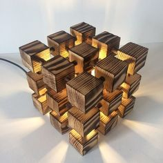 Modern lamp abstract lamp unusual lamp cube light wood lamp lamp wooden cube contemporary lamp office lamp desk lamp home lighting Wooden Table Lamps, Wood Lamps, Lamp Table, Desk Lamp, Unusual Table Lamps, Office Lamp, Make A Lamp, Plafond Design, Wooden Cubes