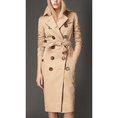 Burberry Horn-Look Button Gabardine Trench Coat