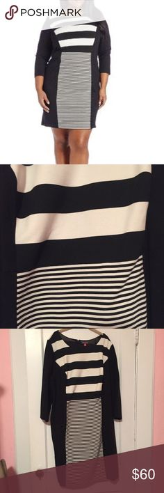 NWOT Vince Camuto Black and White Striped Dress NWOT Black and white striped 3/4 sleeve dress Vince Camuto Dresses
